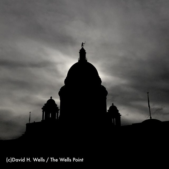 The wonderful Rhode Island statehouse amidst moody clouds with thehellip